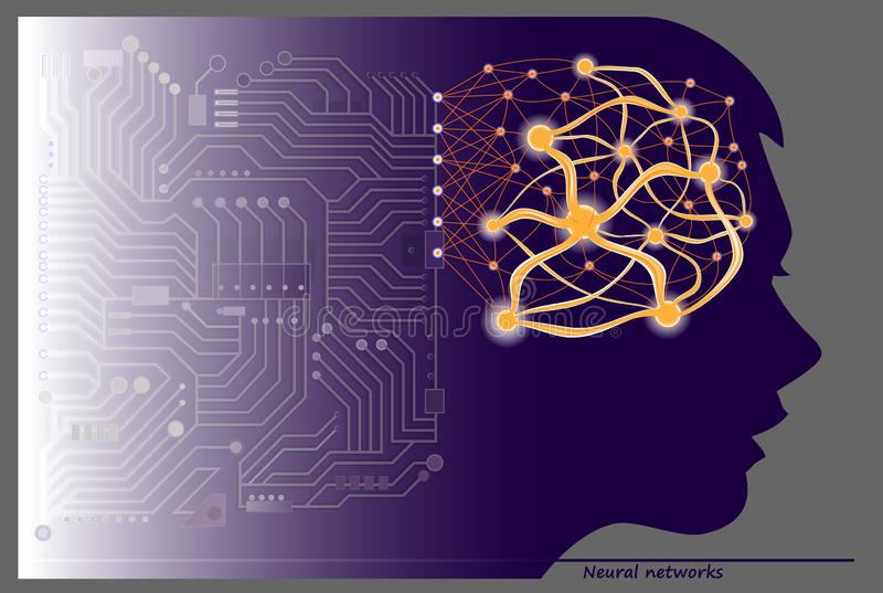 Women silhouette with neuron waves in brain for scientific research. Stylized artificial intellect communications. stock illustration