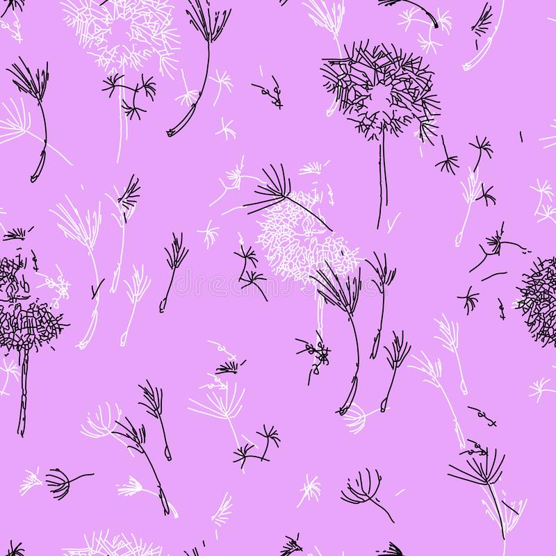 Dandelions on Lavender. vector illustration