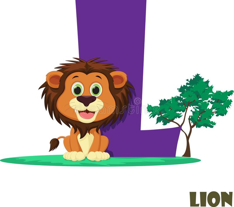 Cute Animal Zoo Alphabet. Letter L for lion stock image