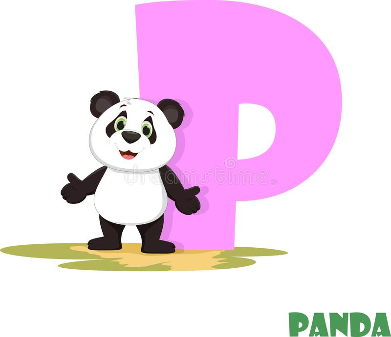 Cute Animal Zoo Alphabet. Letter P for panda royalty free stock image