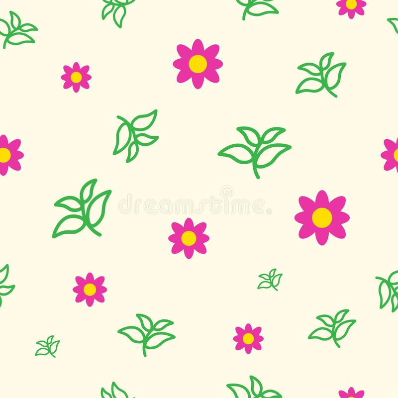 Flower and leaves vector royalty free illustration