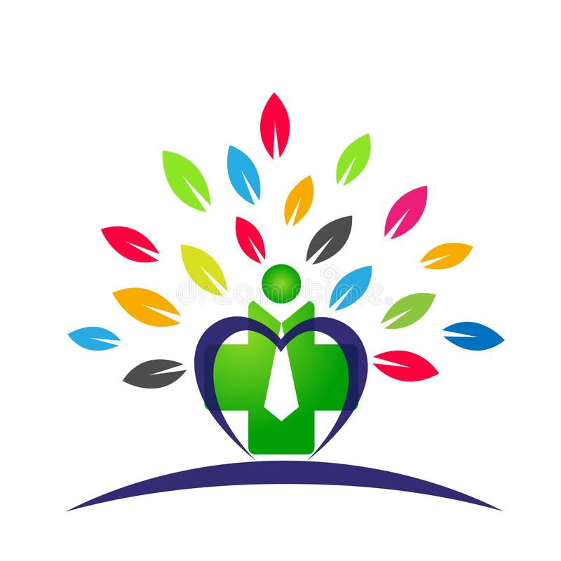 People Heart care medical health tree leaves logo icon wellness health symbol on white background vector illustration