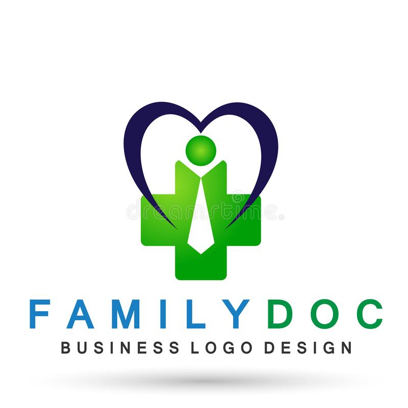 Heart care medical health family doctor logo icon wellness health symbol on white background. In ai10 illustrations royalty free illustration