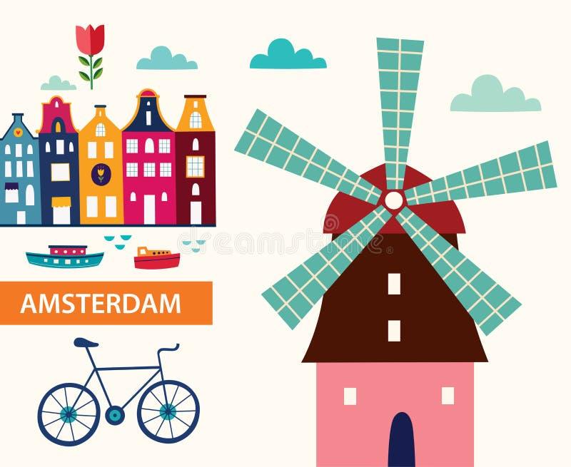 Symbols of Amsterdam. Illustration in cartoon style with symbols of Amsterdam stock illustration
