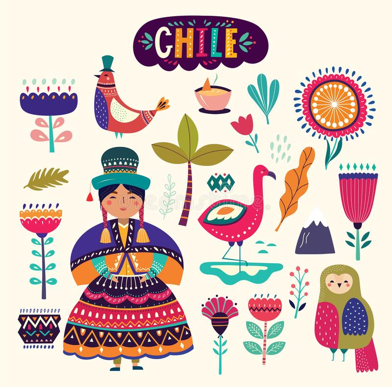 Collection of Chile`s symbols. National costumes of Chile, Peru and Bolivia royalty free illustration