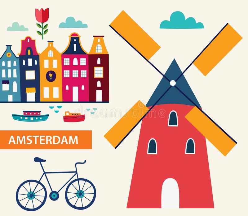 Symbols of Amsterdam. Decorative illustration in cartoon style with symbols of Amsterdam royalty free illustration