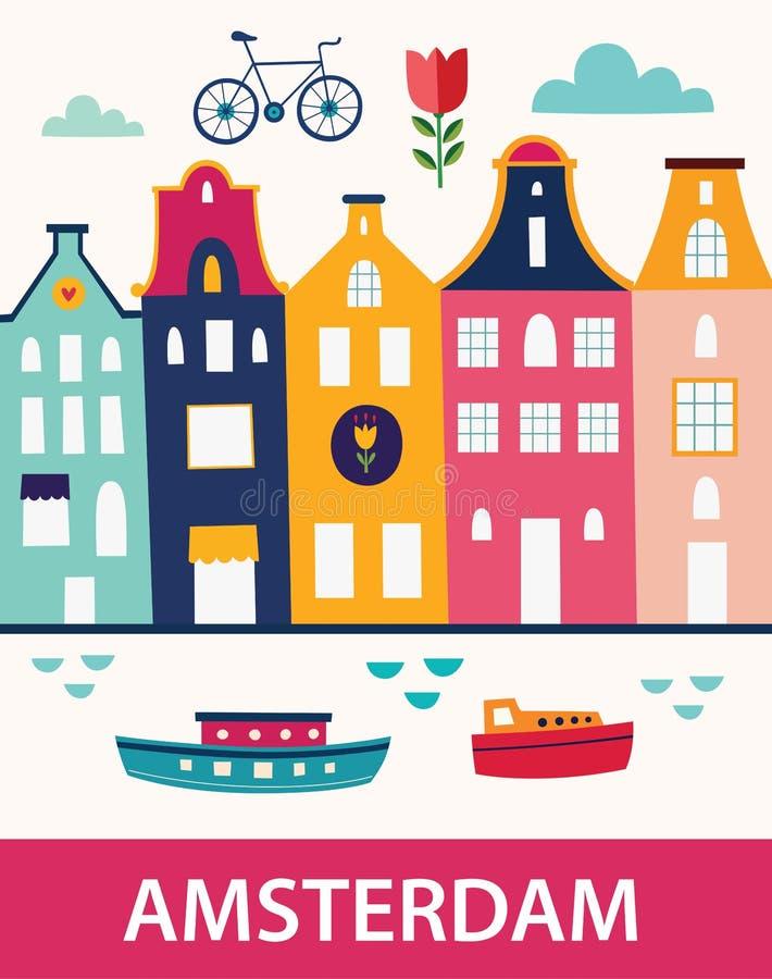Symbols of Amsterdam. Decorative illustration in cartoon style with symbols of Amsterdam stock illustration