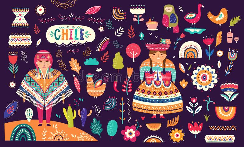 Collection of Chile`s symbols. National costumes of Chile, Peru and Bolivia stock illustration