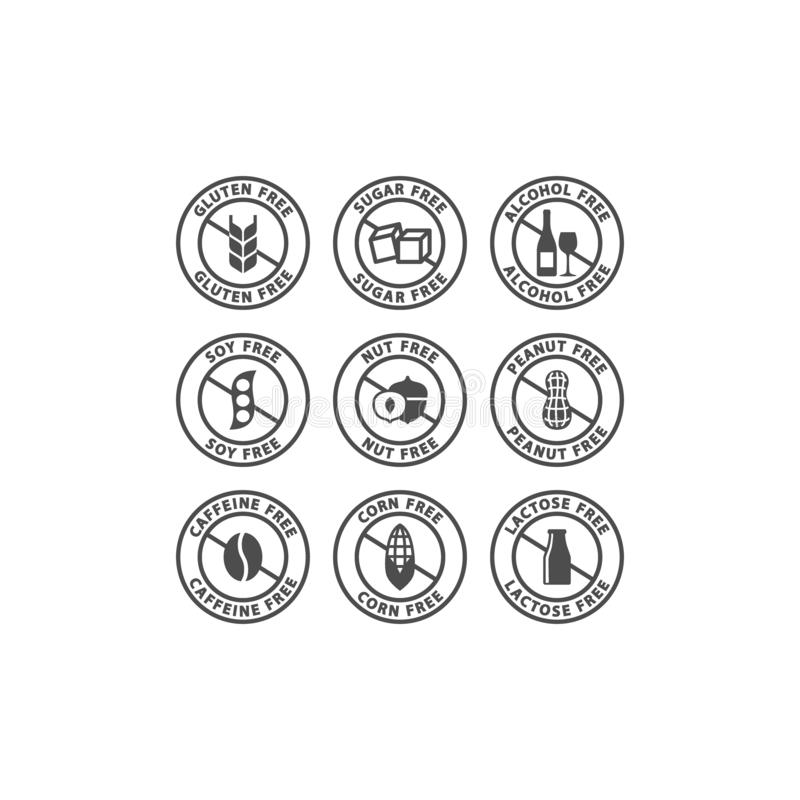 Caffeine, alcohol, sugar free vector label set. Nuts, peanuts, corn free circle badge signs. vector illustration