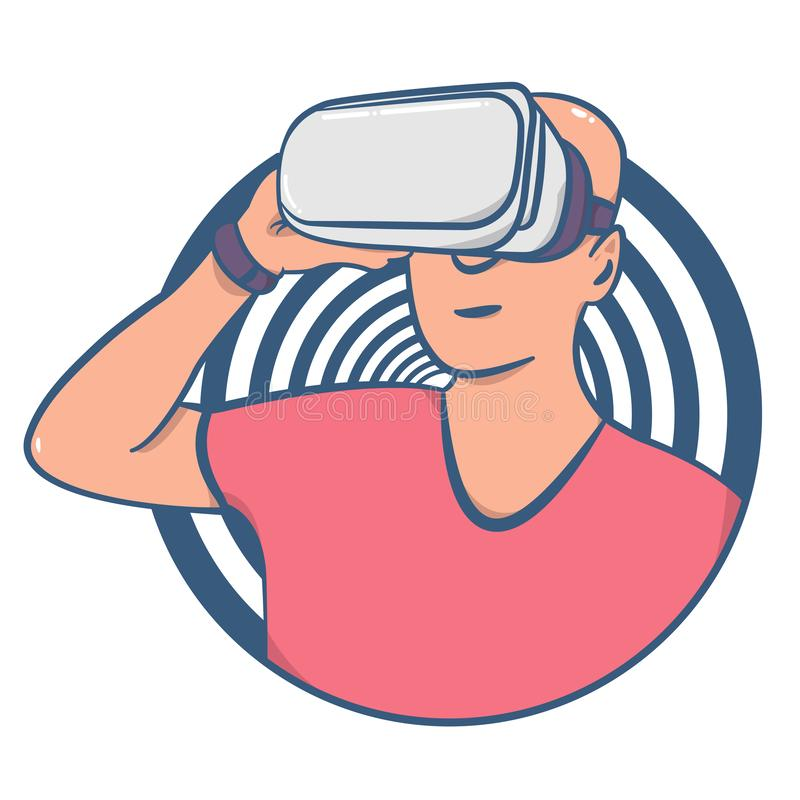 Person in virtual reality headset illustration. stock image