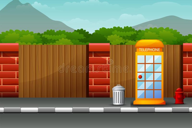 Cartoon telephone box on the roadside with nature background. Illustration of Cartoon telephone box on the roadside with nature background stock illustration
