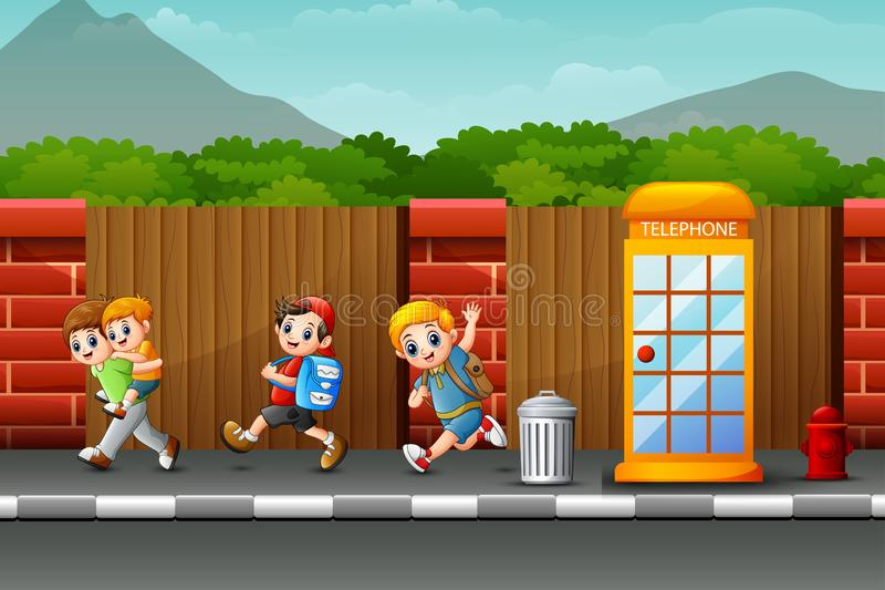 Happy boys playing on the roadside. Illustration of Happy boys playing on the roadside stock illustration