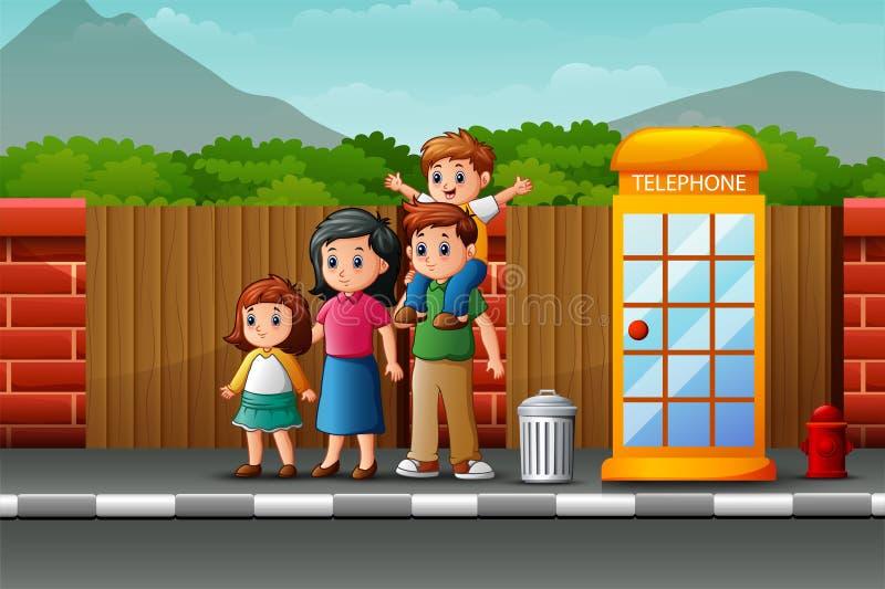 Happy family on the roadside. Illustration of Happy family on the roadside stock illustration
