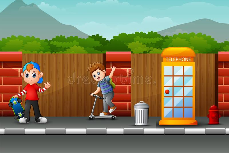 Happy boys playing on the roadside. Illustration of Happy boys playing on the roadside royalty free illustration