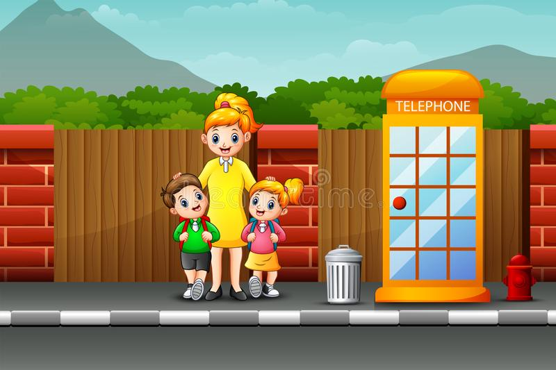 Happy mother and children standing on the roadside. Illustration of Happy mother and children standing on the roadside royalty free illustration