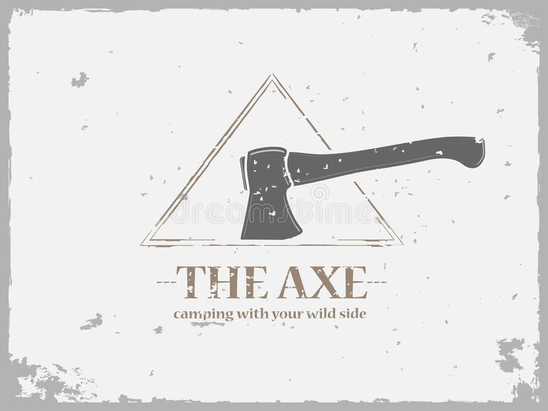 Grunge camping logo with axe vector illustration