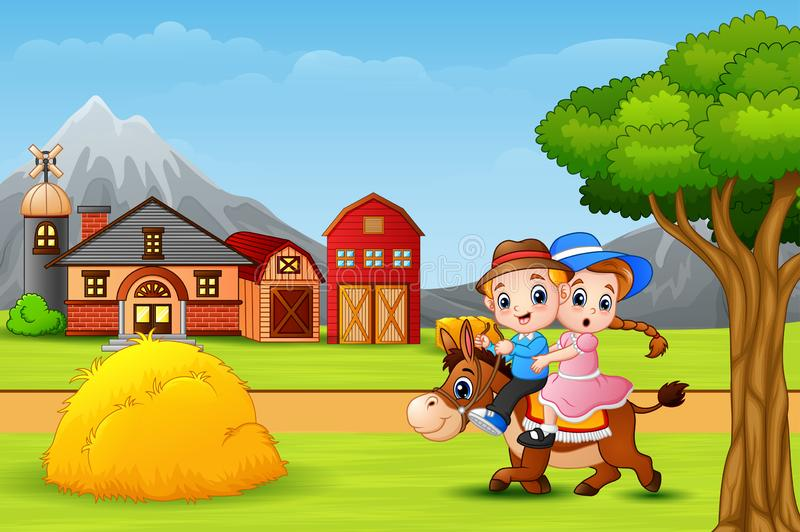 Happy boy and girl riding a horse in faram landscape vector illustration