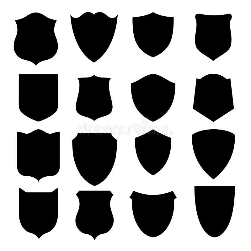 Shields black vectors shapes vector illustration