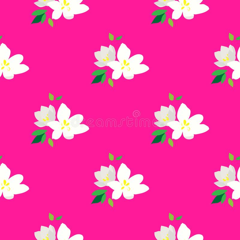 Seamless pattern with blossoming branches of cherry. White flowers and buds on a pink background. Spring floral background. vector illustration
