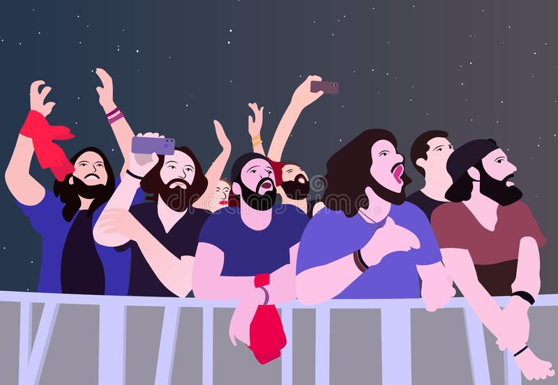 Illustration of people partying in color royalty free illustration