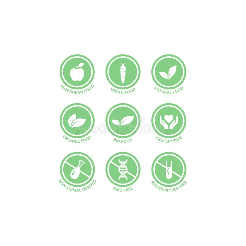 Bio, vegan, organic food vector label set. stock illustration