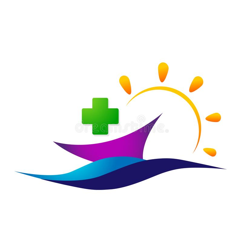 Medical care globe sun and sea wave boat ship family health concept in heart logo icon element sign on white background. Medical care globe sun and sea wave vector illustration