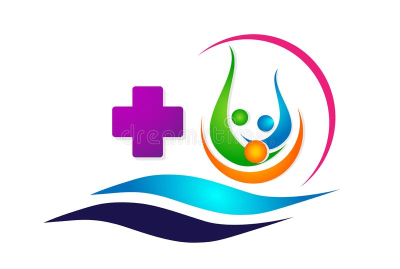Medical care globe sun and sea wave boat ship family health concept in heart logo icon element sign on white background. Medical care globe sun and sea wave boat vector illustration