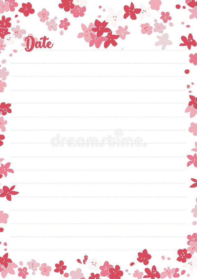 Vector printing paper note, optimal A4 size. Kawaii paper for notebook, diary, planners, letters, notes. stock illustration