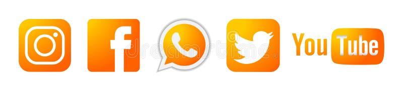 Set of popular social media logos icons gold Instagram Facebook Twitter Youtube WhatsApp element vector on white background stock illustration