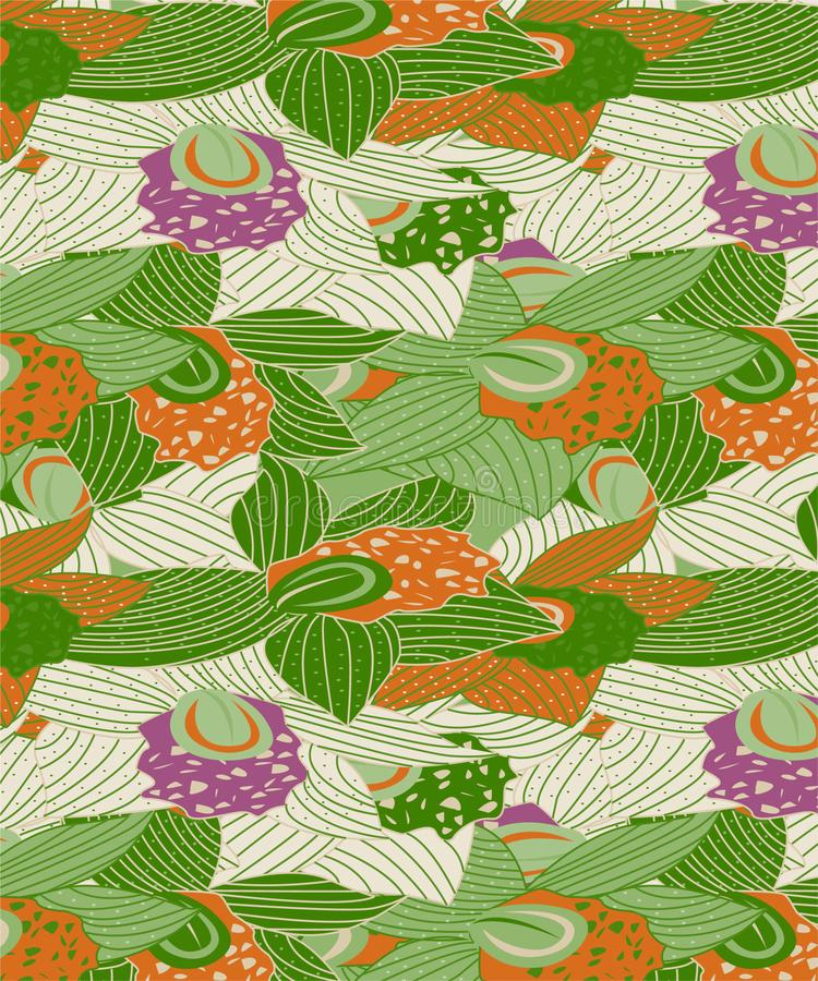 Modern Orchid Seamless Pattern With Purple, Orange and Green Colors vector illustration