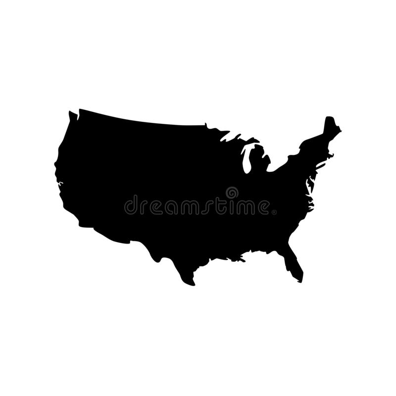 Vector isolated illustration icon of simplified political map USA United States of America vector illustration