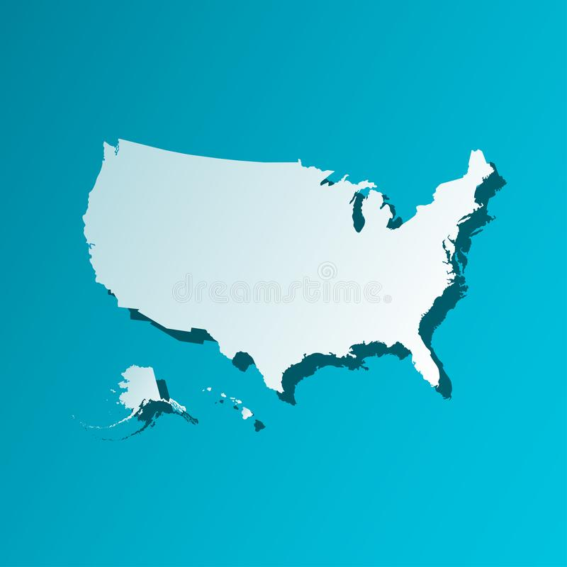 Colorful vector isolated illustration icon of simplified political map USA United States of America. Blue silhouette. royalty free illustration