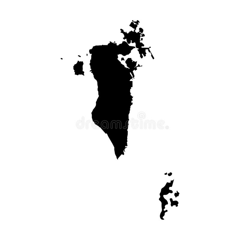Vector isolated illustration icon with simplified map of Bahrain. Black silhouette stock illustration