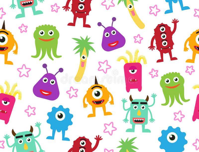 Seamless pattern of cute cartoon monsters background vector illustration