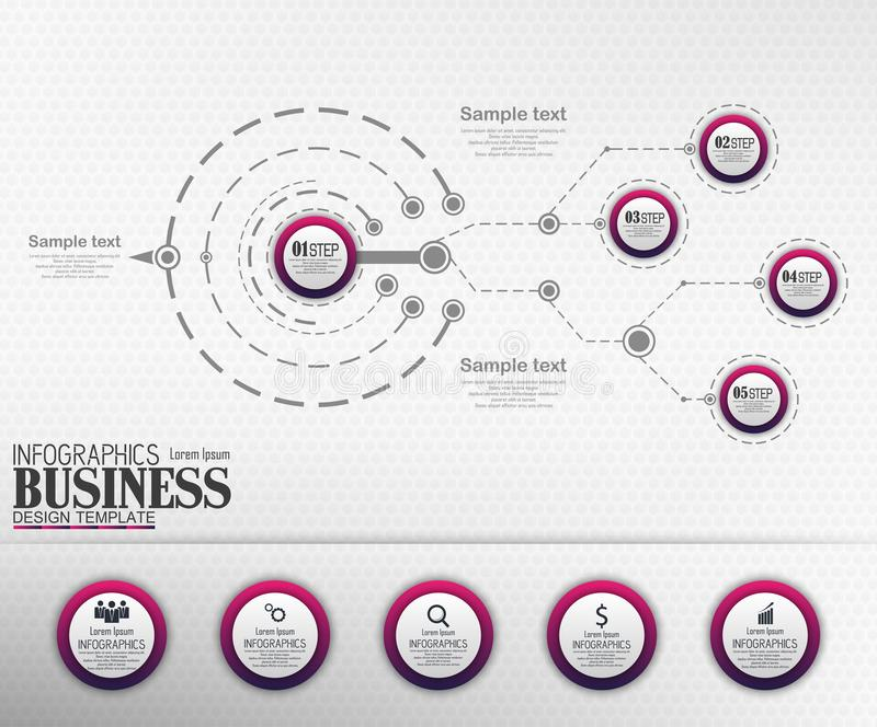 Infographics Business Template concept with 5 options royalty free stock photography