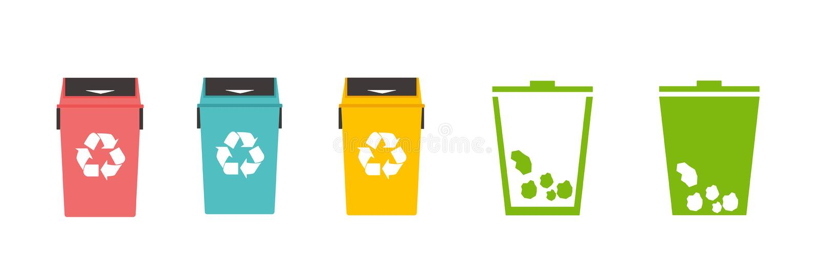 Colorful recycle bins icon- vector illustration. Trash can icon with recycle sign. Garbage bin or basket with recycling symbol. Vector illustration vector illustration