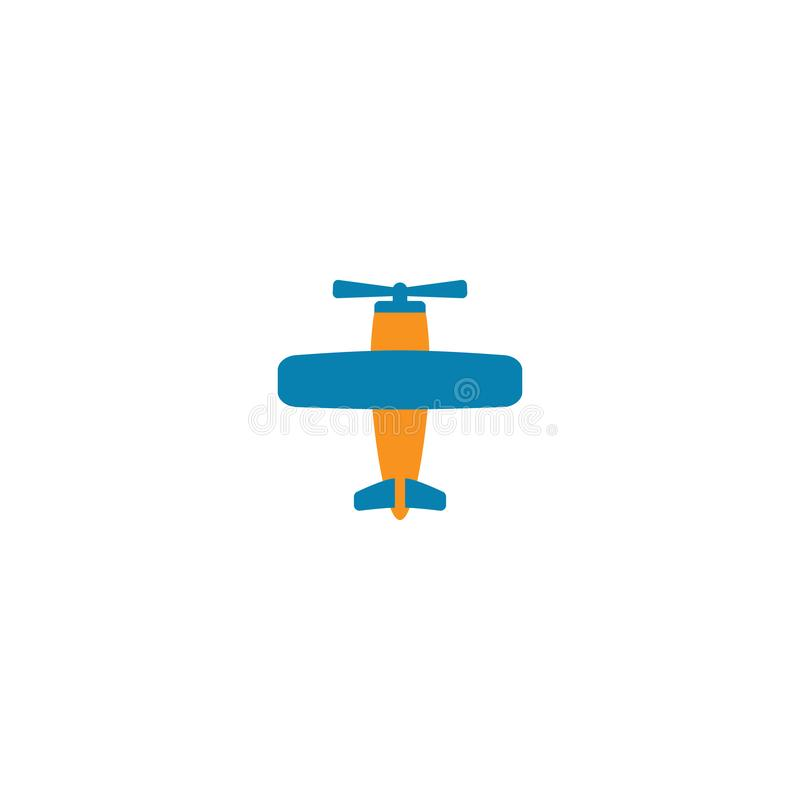 Retro airplane with airscrew colorful vector cartoon. Airplane vintage style in blue and orange icon stock illustration