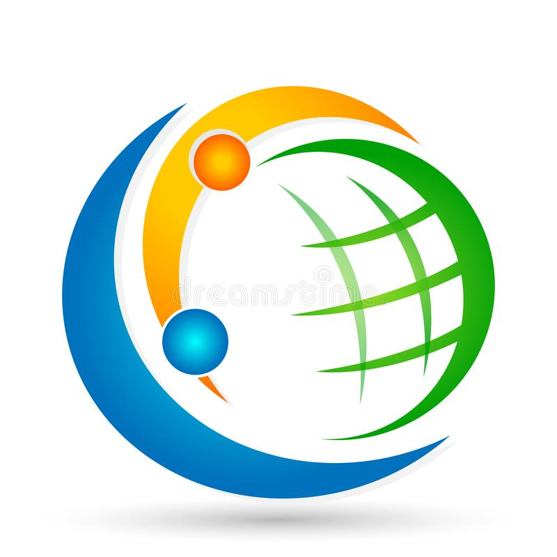 Globe world People Diversity union team work social community wellness celebration group work concept symbol logo icon. Globe world People union team work social vector illustration