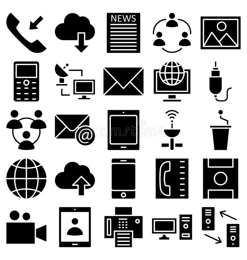 Communication and Digital Devices Isolated Vector Icons set that can be easily modified or edit royalty free illustration