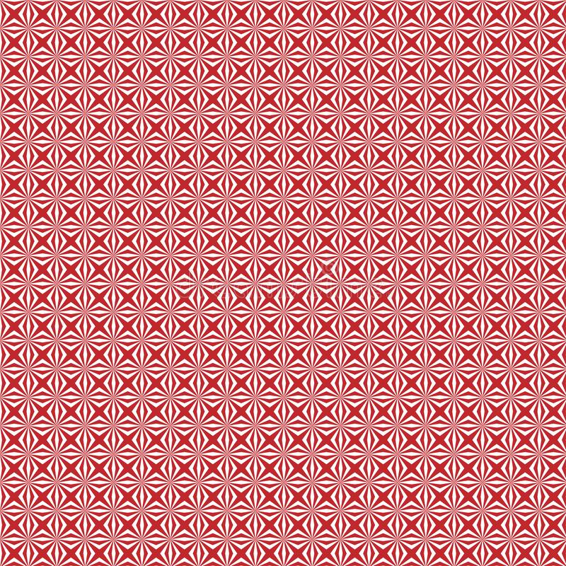 Abstract Geometric Floral Seamless Pattern in Red Background stock illustration