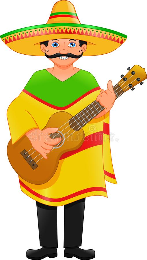 Mexican man with hat and poncho guitars. Vector illustration of mexican man with hat and poncho guitars vector illustration