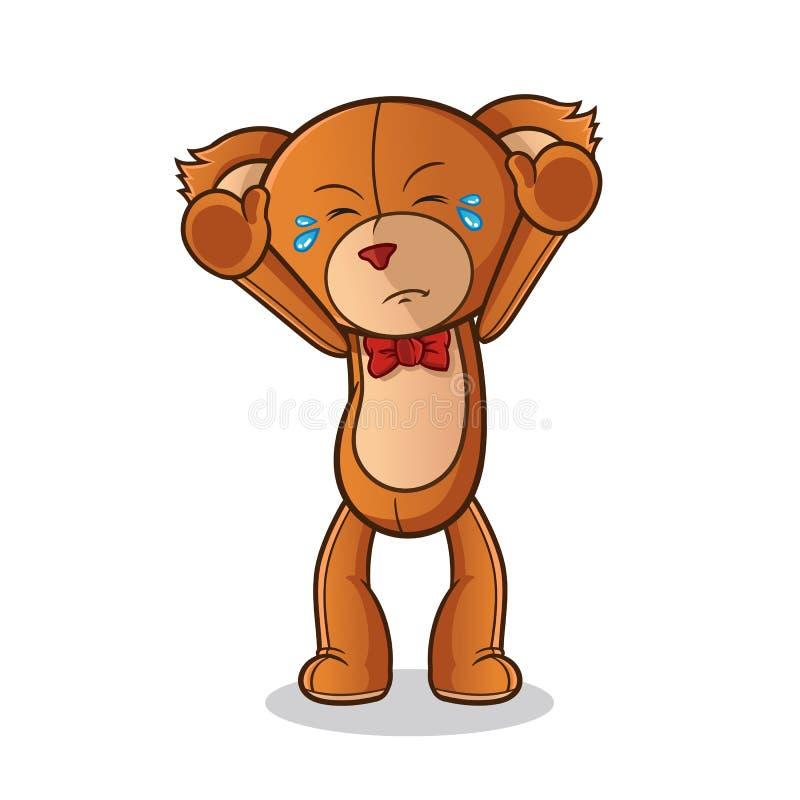 Teddy bear doll surrender mascot vector cartoon art illustration. This is an original character. teddy bear doll surrender mascot vector cartoon art illustration stock illustration