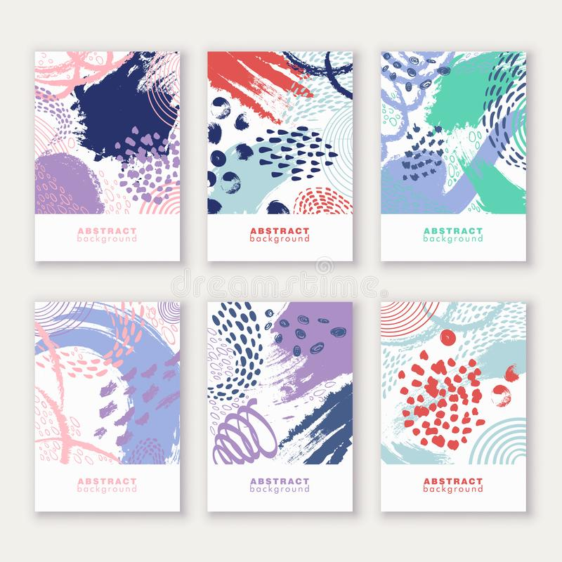 Set of poster, greeting, invitation card, template design, cover, party advertisement, flyer. Ð¡ard templates with abstract bright colored paint blotches stock illustration