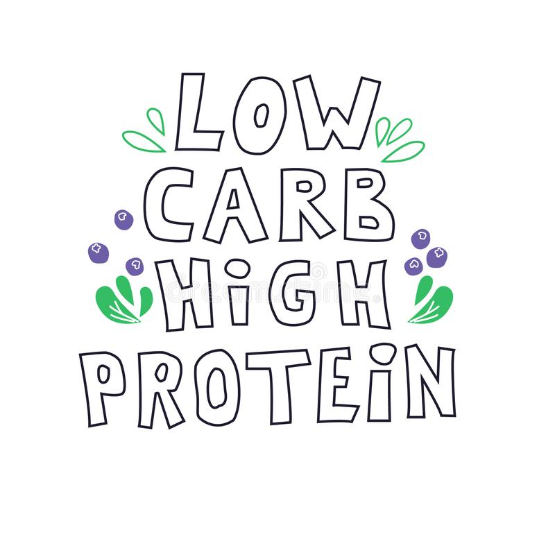 Low carb high protein. Keto diet food flat hand drawn vector illustration. vector illustration