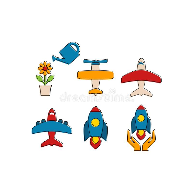 Flower pot, airplane, space shuttle, rocket with two hands vector colorful cartoon icon set. stock illustration
