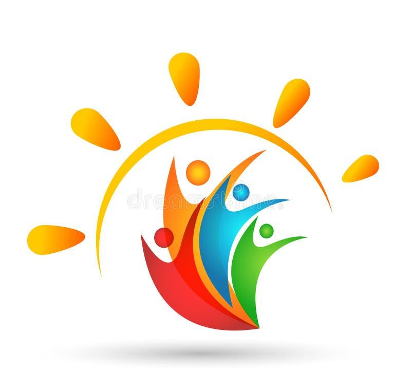 People sun logo team work partnership education celebration group work people symbol icon vector designs on white background. People logo team work partnership vector illustration