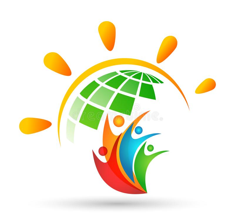 Globe People sun logo team work partnership education celebration group work people symbol icon vector designs on white background. World People logo team work royalty free illustration