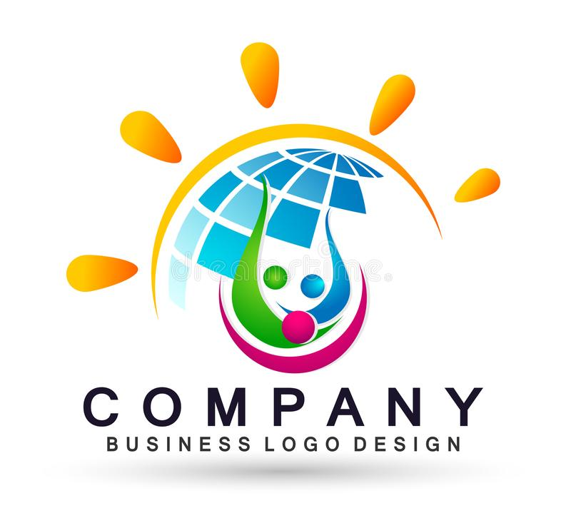 Globe People sun logo team work partnership education celebration group work people symbol icon vector designs on white background. World People logo team work vector illustration
