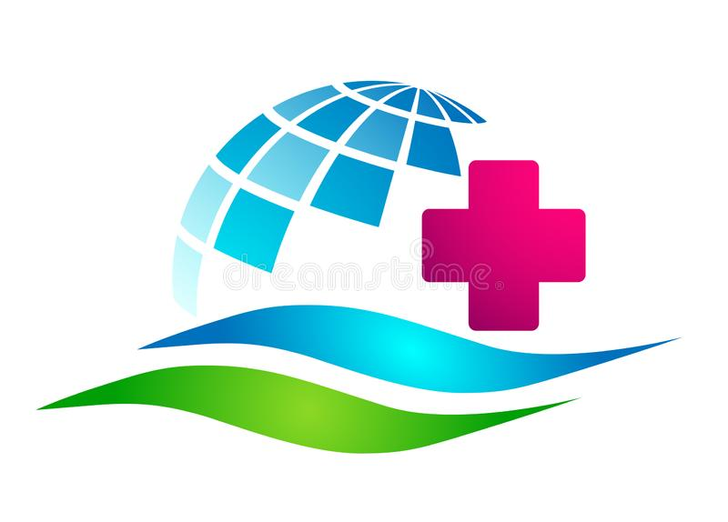 Medical care globe world sun family health cross clinic wellness concept logo icon element sign on white background. Medical care globe family health people stock illustration