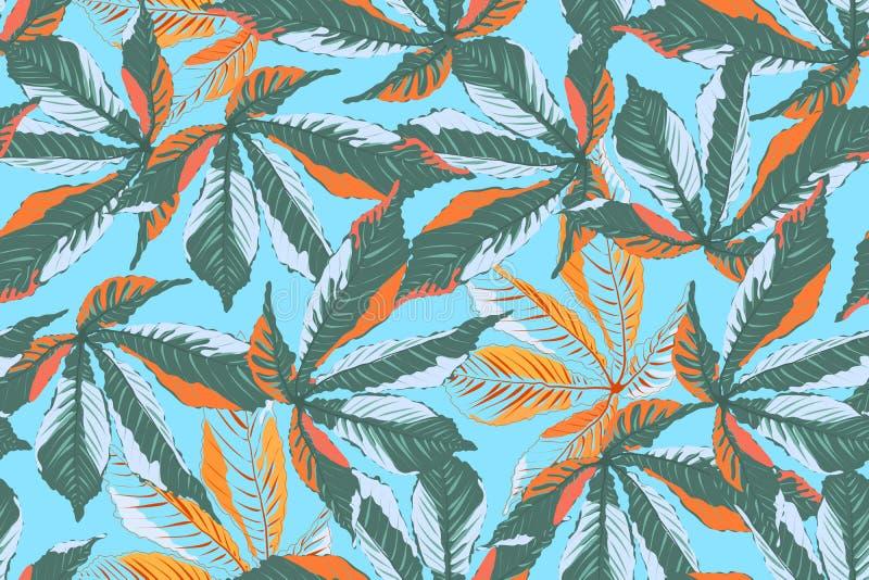 Leaves under snow on blue background. royalty free illustration